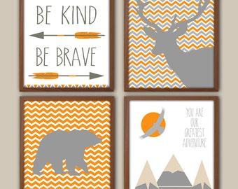 Boys Nursery Art - Orange And Gray Nursery - Nursery Quote - Chevron Nursery - Stag Nursery Art - Bear - Adventure - Tribal Nursery Decor