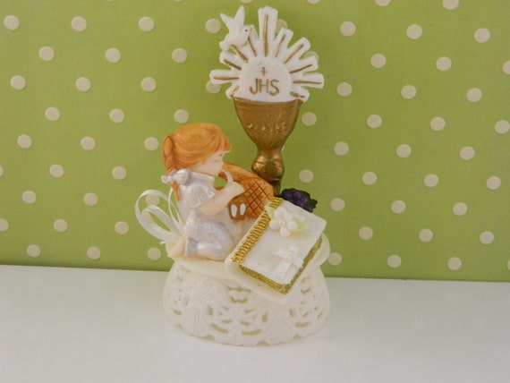 Items similar to girl communion cake topper first for Altar decoration for first holy communion