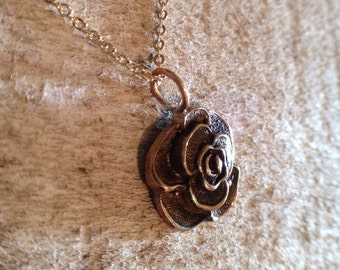 Bronze Rose Charm Necklace