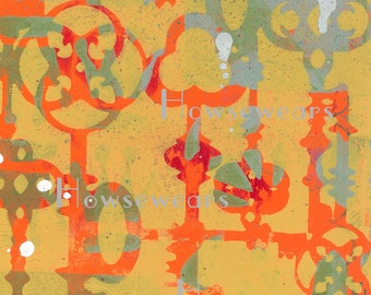"Gelli® print,""Keys"",digital download,8.5x11"",monoprint,art journal,collage,mixed media,altered art,hand painted design,scrapbooking,cards"