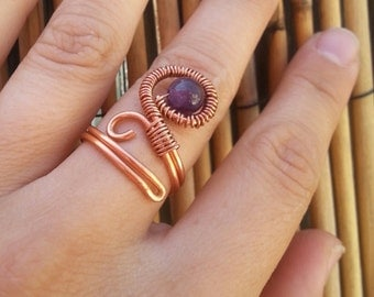 Copper and amethyst goddess wrap around ring