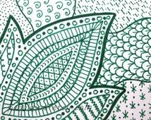 OOAK green zentangle ACEO, ATC, zen doodle art card original, zentangle design, green ink drawing, aceo trading card