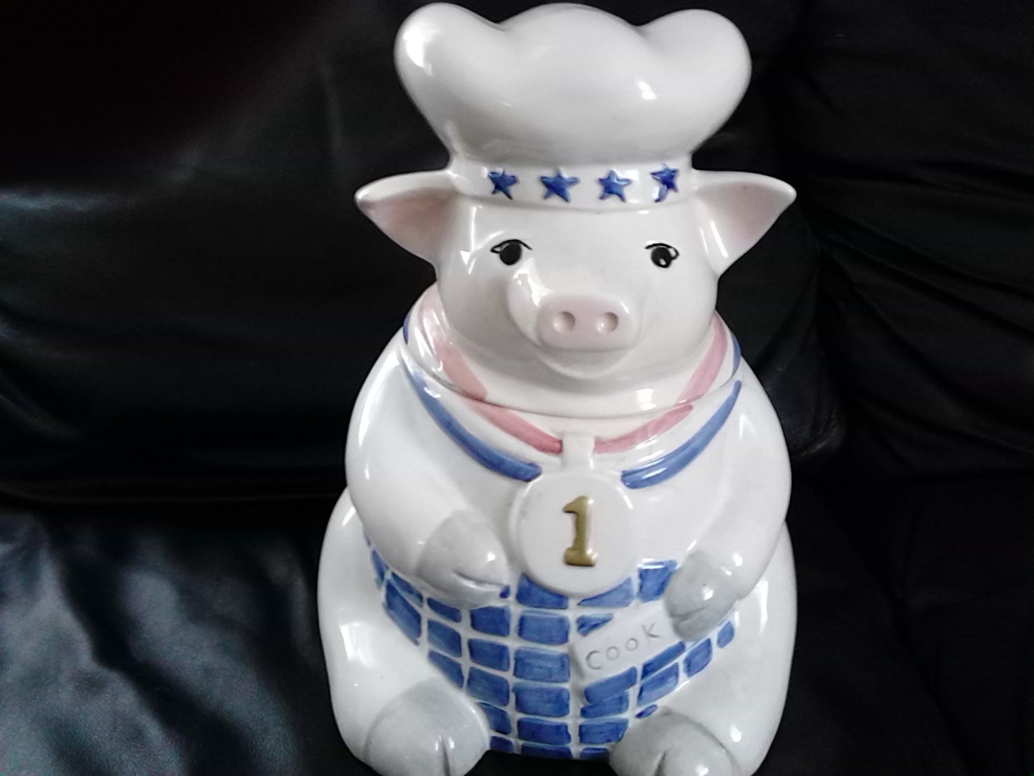 Cute Vintage Pig Ceramic Cookie Jar Unmarked White Pink And