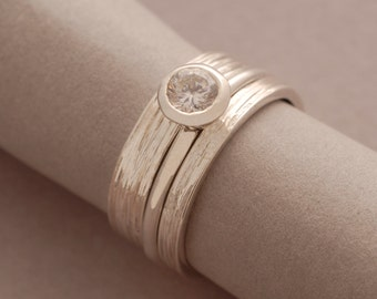 Sterling Silver Engagement Ring Set, White Topaz Engagement Ring, Matching Wedding Band Set, BD10