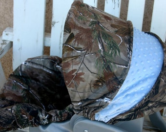 Realtree and light/baby blue minky car seat cover and hood cover