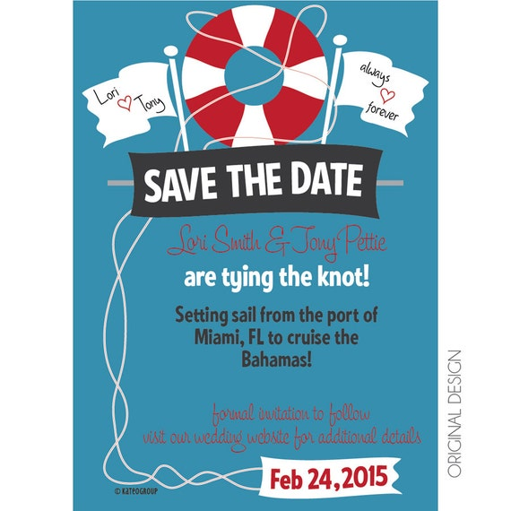 Items similar to Cruise Wedding Save the Date Customizable ...
