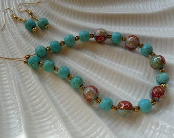 Cloisonne and Turquoise Czech Glass Beaded Necklace and Earrings