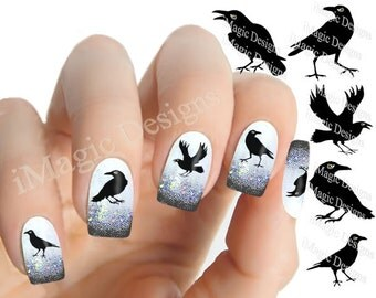 Halloween Nail Stickers, Waterslide Nail Decals, Raven