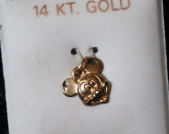Mickey Mouse 14K Yellow Gold Authentic Disney Van Dell Head Pendant/Charm.....1960...very rare...