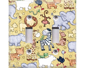 Baby Safari Animals Double Light Switch Cover