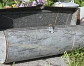 Rustic Vintage Galvanized Steel Round Mailbox/ Flower Box Industrial Decor