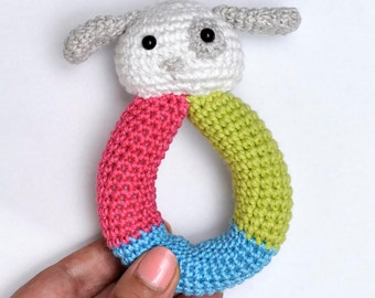 Crochet Baby Dog Rattle Natural Cotton Handemade  White Dog plush toy FREE SHIPPING