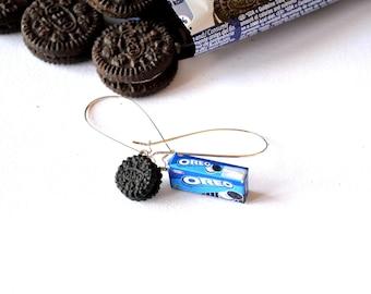 Tiny Oreo cookie and Oreo cookie box earrings
