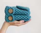 Convertible Wool Gloves, Crochet Women Mittens In Blue, Winter Accessories, Fingerless Arm Warmers