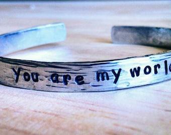 """Personalized Bracelet,  Engraved Bracelet, love, valentines, wedding gift, bridal, 1/4"""" long hammered"""