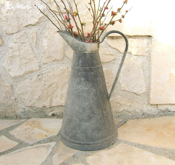 Vintage French zinc pitcher Antique - 93.6KB