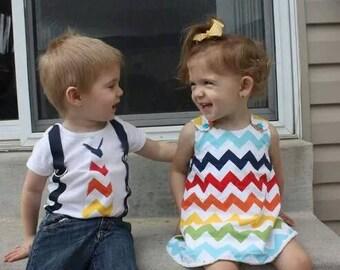 Brother Sister Boy Girl Twin  Charlotte & Chevron Build a Set[ALTOCC]