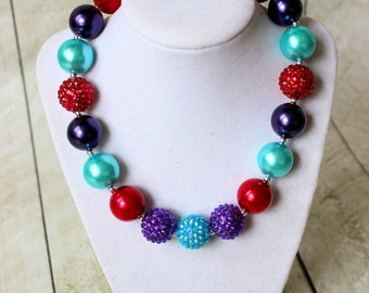 girls bubblegum necklace little mermaid Ariel girl necklace aqua red purple birthday necklace birthday necklace flower girl necklace