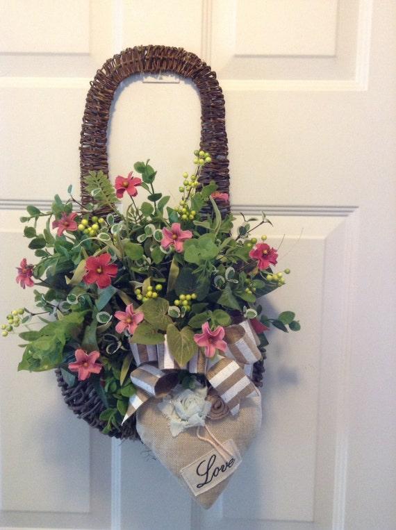Front Door Wreath Front Door Twig Basket Valentine Hanging