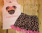 Sz 12 month to 4T Minnie Mouse Safari Set