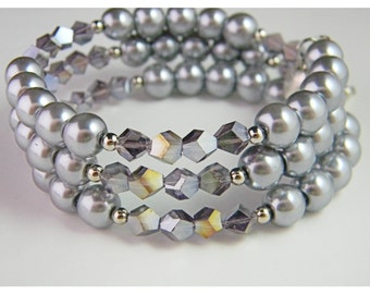 Purple & Silver Cubed Crystals and Gray Glass Pearl Memory Wire Bracelet.