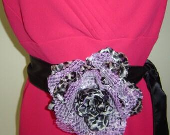 Ladies Black Silk Belt With Purple Silk Flower