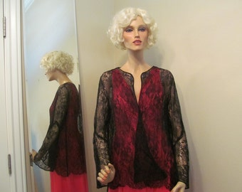 1920's 1930's Black Silk Lace Blouse Top Jacket