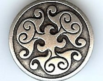 BC49 or BC50 or BC202 or BC203 or BC204 or BC205 - Metal  Button - Renaissance Swirl Metal Button. Many color and size options available.