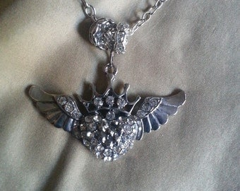 Crystal Flying Heart Necklace