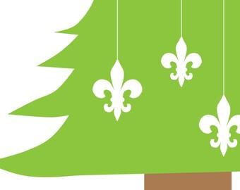 Heaux Heaux Fleur de Lis Christmas Tree Cards 10 ct
