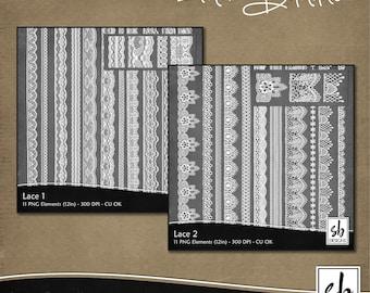 Digital Lace - Lace Clip Art- Digital Scrapbooking Lace - Lace Border - Lace Embellishments - Printable Lace - Instant Download - CU OK