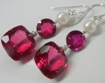 SALE. earrings. pink topaz. hot pink quartz. akoya pearl.