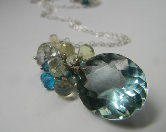 SALE. necklace. green amethyst. lemon quartz. blue zircon. moss aquamarine. apatite.