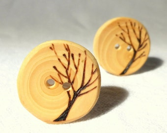 Wood Tree Buttons,  1 Inch Wooden Tree Button, Natural Hardwood, Rustic Wood Button Eco-Friendly Set of 2