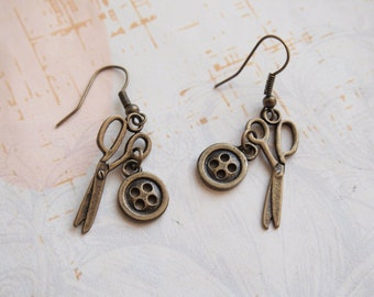 Button Scissors Earrings, Designer Earrings, Seamstress Earrings, Fashion Designer Dangle Earrings,