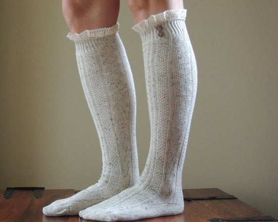 knee high lace boot socks with buttons and by