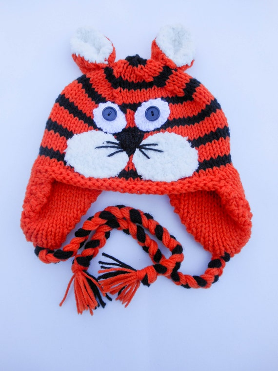 Knitting Pattern Tiger Hat Cat Hat Animal Hat Character Hat Novelty Hat Earfl...
