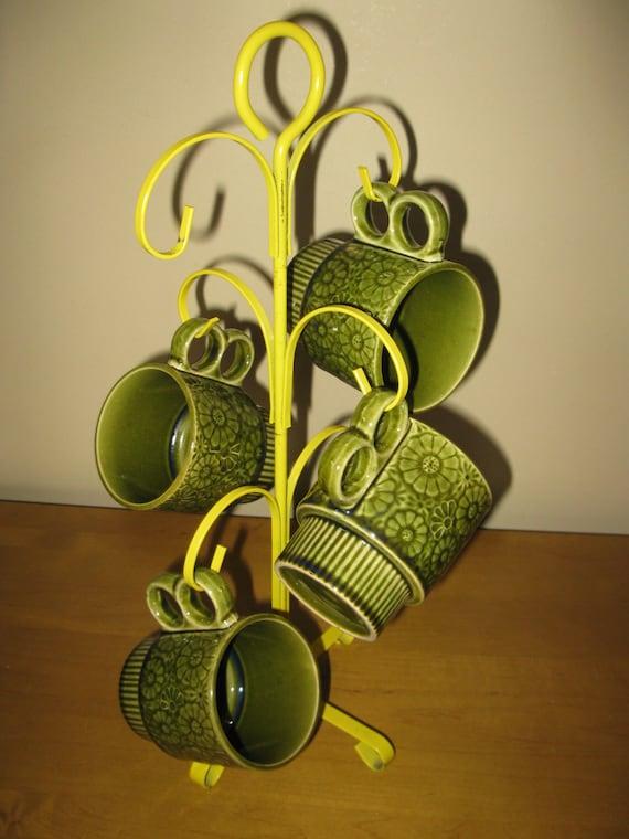 Vintage Metal Cup Holder Cup Tree Cup Holder Mustard