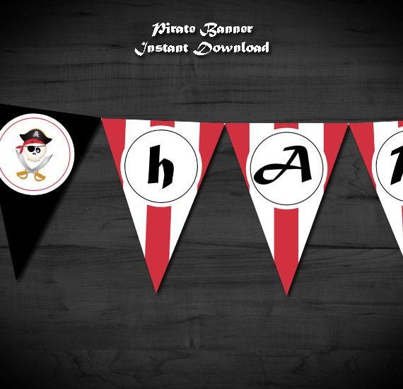 Pirate Pennant Happy Birthday Banner