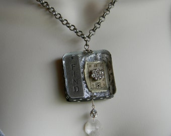 Vintage Repurposed Tin Steampunk Necklace Upcycled