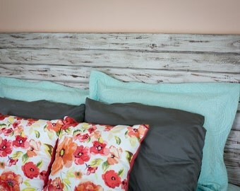 Rustic White King Size Headboard, Floating headboard, Distressed Wood, Shabby Chic, Whitewash furniture, king bed