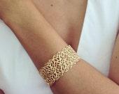 Filigree Bracelet, Gold Bracelet, Cuff Lace Bracelet, Bridal Bracelet, Band Bracelet, bridesmaids gift, Wedding Bracelet