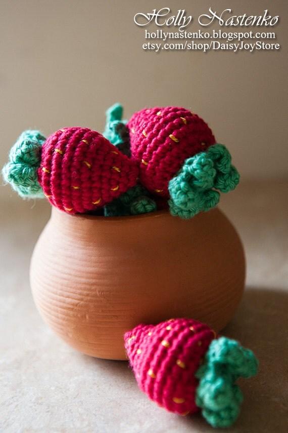 Crochet strawberry play food Handmade Amigurumi Waldorf Easter