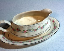 Crooksville gravy and tray-porcelain gravy boat with serving tray-blue garland-pink roses-metallic trim