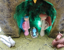 Illuminated Nativity , Lighted Christmas Nativity Set , Quilling Christmas , Paper Quilling