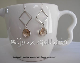 Silver Plated Square with Sparkle Champagne Peach Gemstone Drop Earrings
