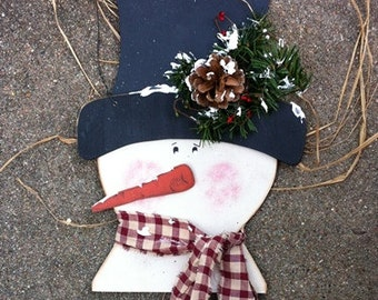 Primitive Country  121SCB  Hanging Snowman Burgundy  Scarf