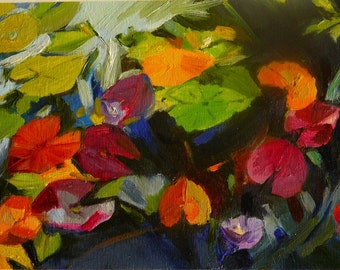 NOT AVAILABLE Lily Leaves 5. Original oil painting