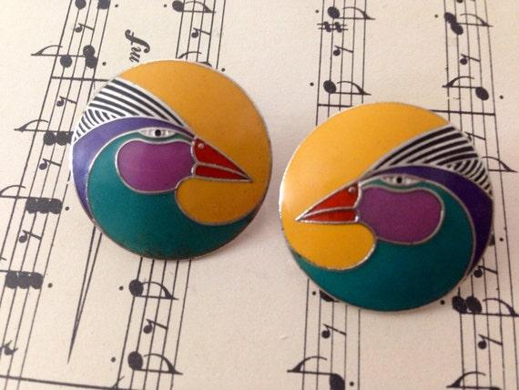 80s Vintage Laurel Burch Harlequin Bird Pierced Earrings