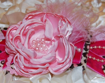 Pink and Cheetah Flower Headband by Caprice Colette